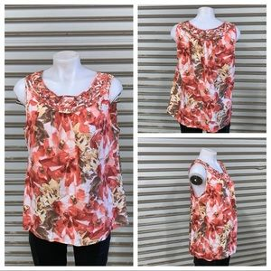 🛍️Dana Buchman cotton blend floral top
